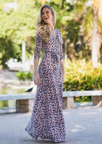 Vestido Longo Transpassado Zinzane - Look do dia - lookdodia.com