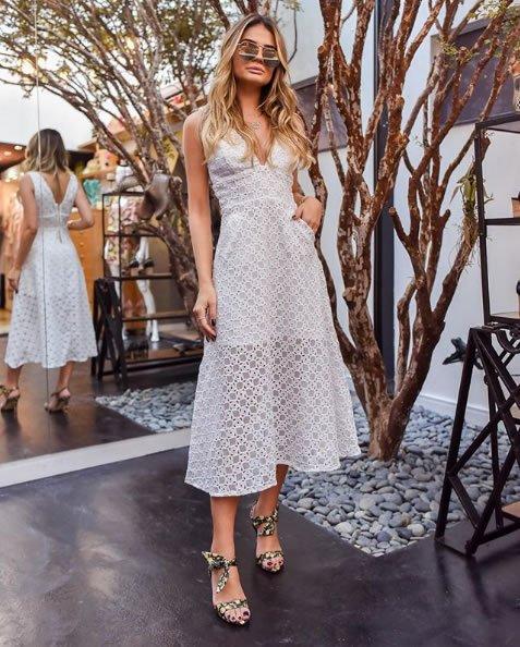 222-Thassia Naves veste Skazi Vestido Midi Renda - Look do dia - lookdodia.com