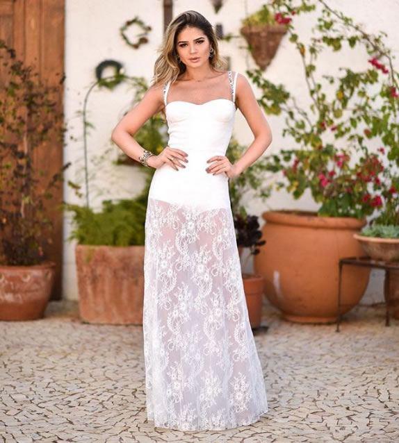 234-Thassia Naves veste Iorane Vestido Longo de Renda Branco - Look do dia - lookdodia.com