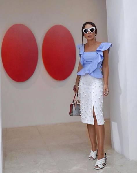 Lala Noleto veste Iorane Camisa Cruzada Azul - Look do dia - lookdodia.com