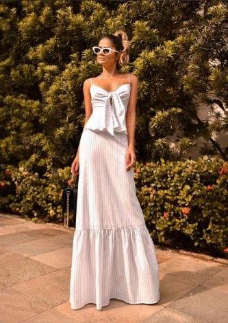Thassia Naves veste Iorane Vestido Longo Listras No - Look do dia - lookdodia.com