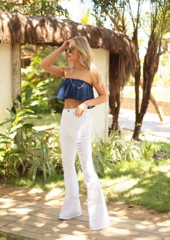Look do dia Calca Flare Branca - ByNV - lookdodia.com