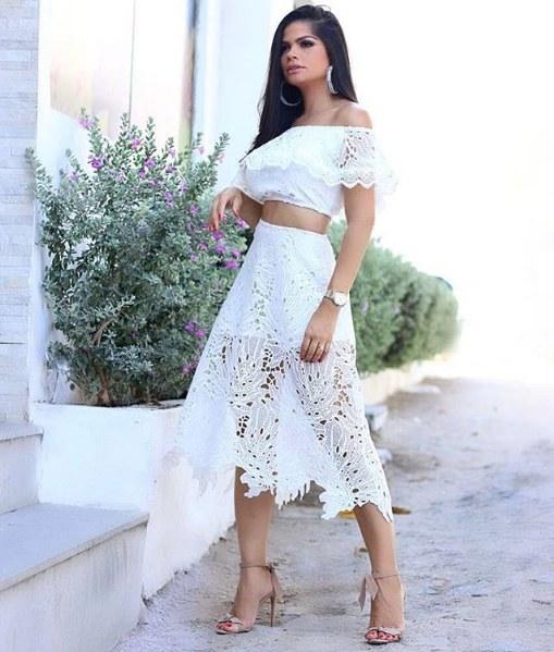 Isabele Temoteo veste Miss Lolla Conjunto Guipure Folhas - Look do dia - lookdodia.com
