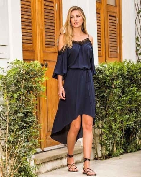 Look do dia Vestido de Renda Azul - ATEEN - lookdodia.com