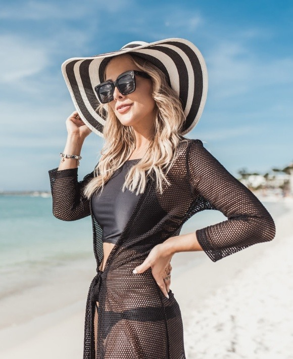 Look do dia Saída de praia luxuosa Palm Beach - Blessed Store - lookdodia.com