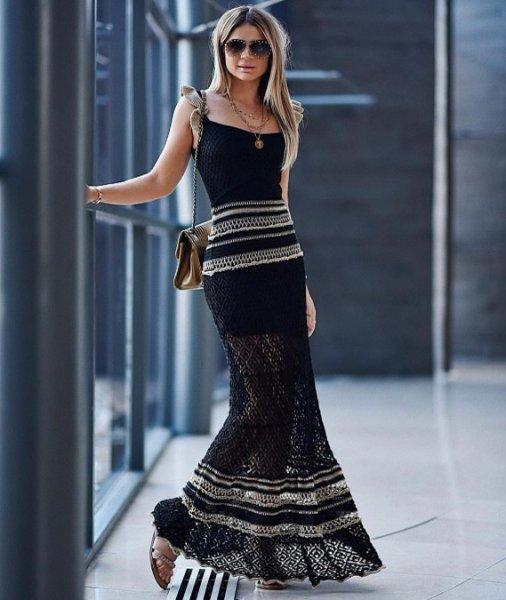 Thassia Naves veste Galeria Tricot Vestido Longo Preto - Look do dia - lookdodia.com