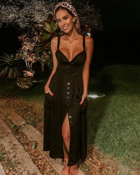 Giovanna Morete veste ByNV Vestido Marcela Preto - Look do dia - lookdodia.com
