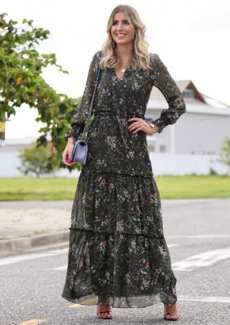 Dandynha Barbosa veste Fillity Vestido Longo Estampado - Lookdodia - lookdodia.com