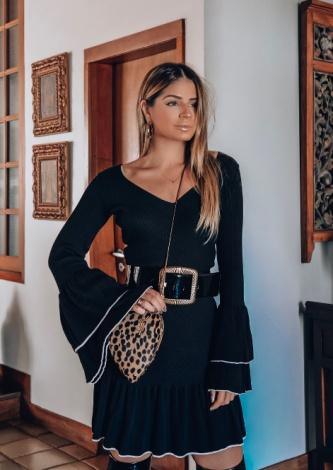 Thassia Naves veste Galeria Tricot Vestido Valência Preto - Lookdodia - lookdodia.com