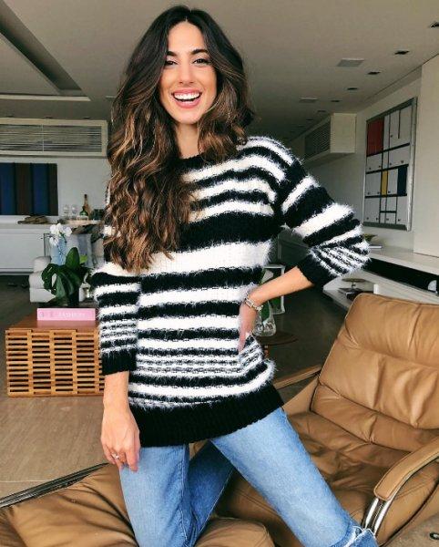 Luiza Sobral veste Anselmi - Blusa Listrada P&b - Look do dia - lookdodia.com