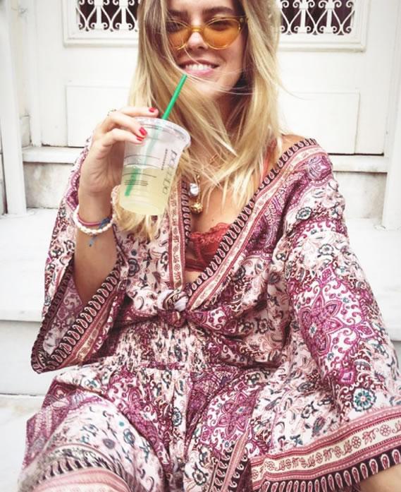 Kimono Estampa Positano Ateen - Look do dia Nathalia Medeiros