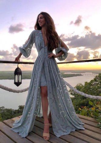 Vestido Longo Crepe Devorê Fenda - Look do dia Luiza Sobral