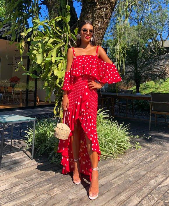 Vestido Longo Babado Vermelho - Look do dia: Carol Neves