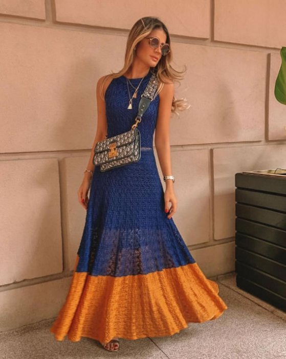 Vestido Tricot Nicole Azul — Look do dia Thassia Naves
